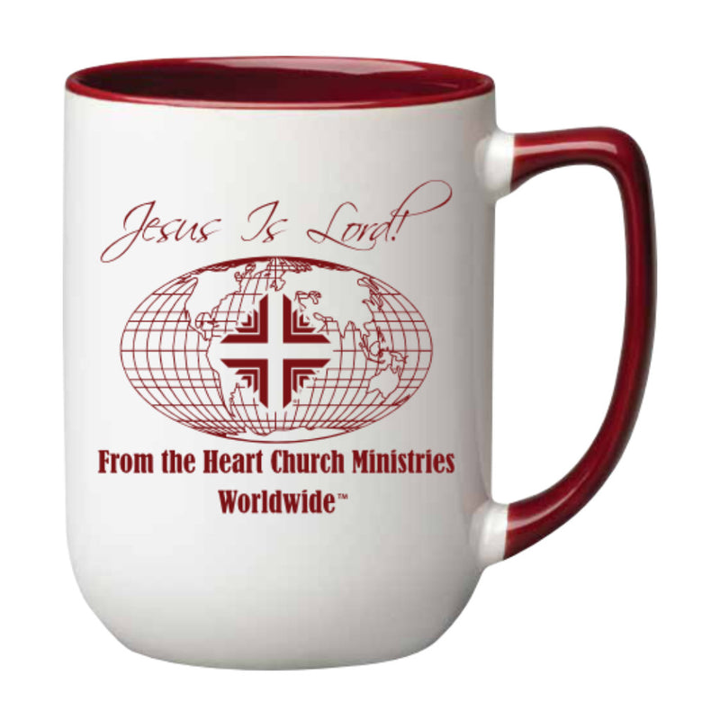 Mug: 17 Oz White With Burgundy Logo WW