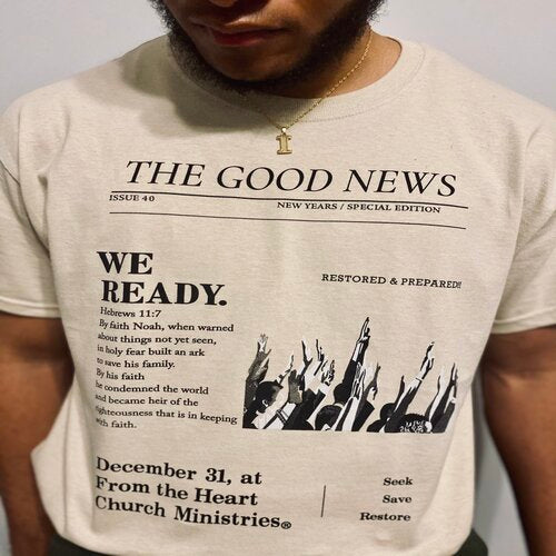 Newspaper Design T-Shirt - Adult