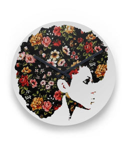 Afro Natural Hair Flower Wall Clock
