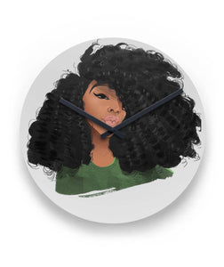 Afro Natural Hair-Curls Wall Clock