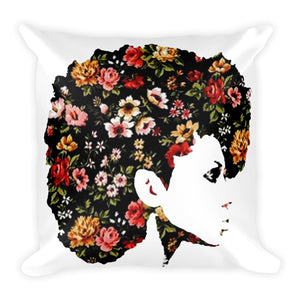 Afro Natural Hair Flower Square Pillow