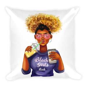 Afro Black Girls Rock Square Pillow