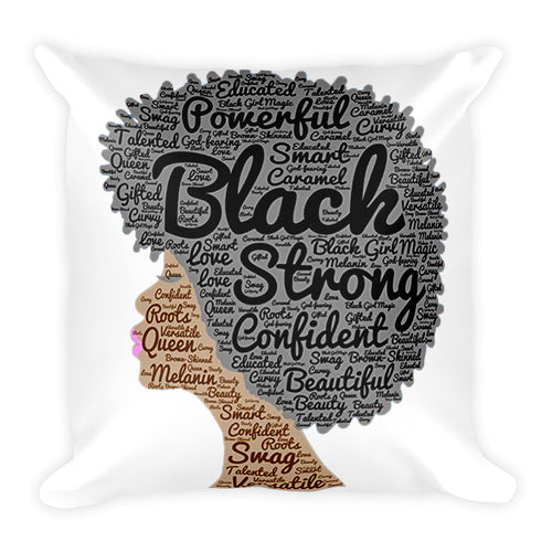 Afro natural hair black strong Square Pillow
