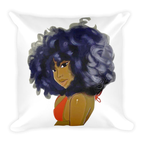 Afro Natural Hair-Curly Lady Square Pillow