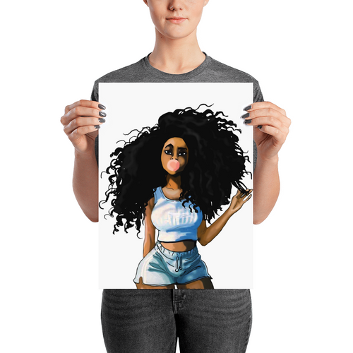 Afro Natural Hair-curly Girl Poster
