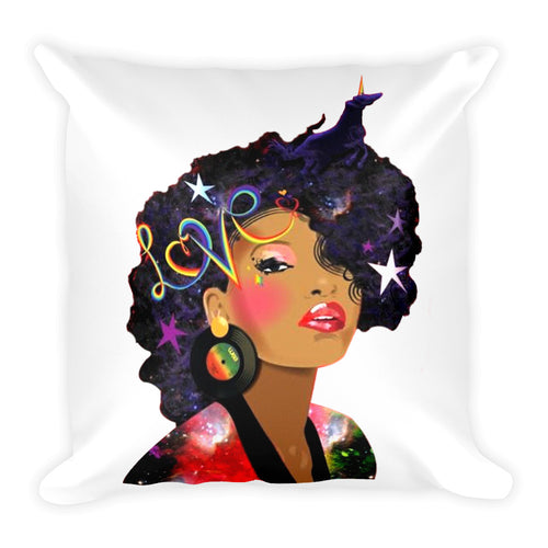 Afro Natural Hair Love Square Pillow