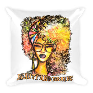 Natural Beauty And Brains Square Pillow