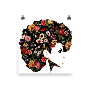 Afro Natural Hair Flower Poster