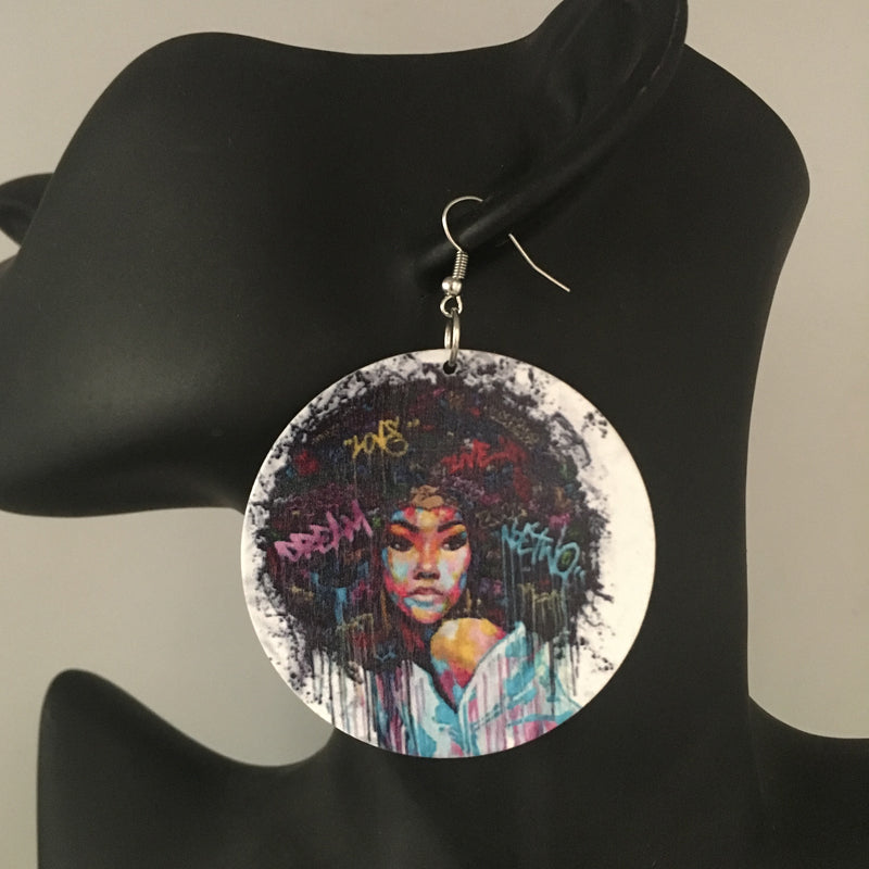 Printing Black Queen Wooden Earrings