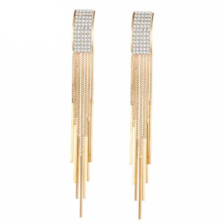 Chandelier Crystal Tassel Long Drop Earrings