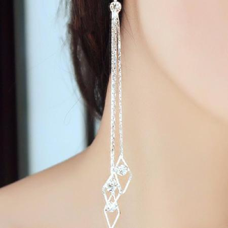 Long Rhinestone Tassel Drop Earrings