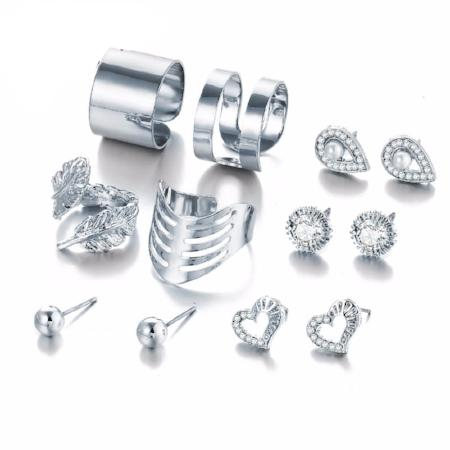 Women's Fashion 8 Piece Crystal Heart, Water Leaf Ring/Earring Set