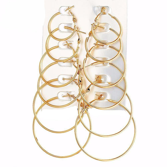 6 Pair Hoop Earring Set