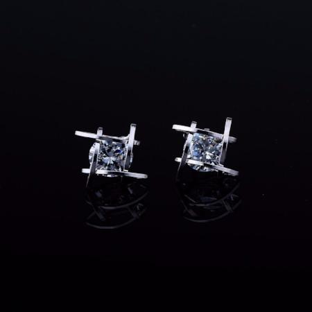 Cubic Zirconia Square Caged Stud Earrings