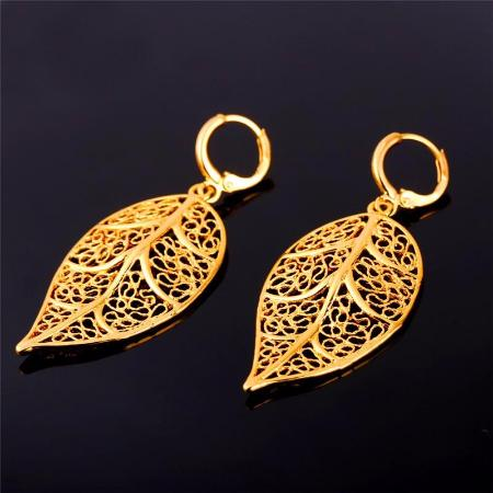 Bohemian Vintage Leaf Long Drop Earrings