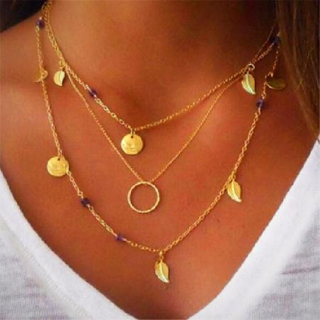 Women's Boho Multilayer Leaf Gold Pendant Necklace