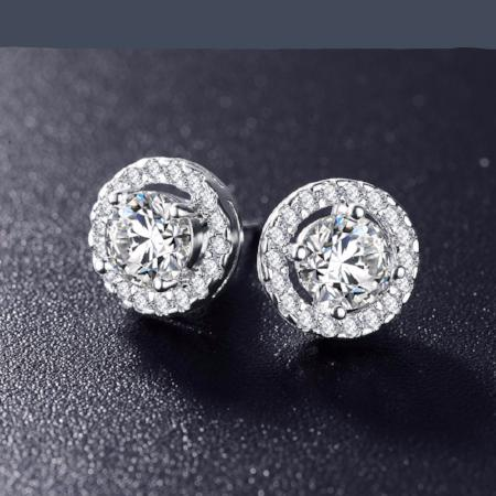 Cubic Zirconia Platinum Plated Stud Earrings