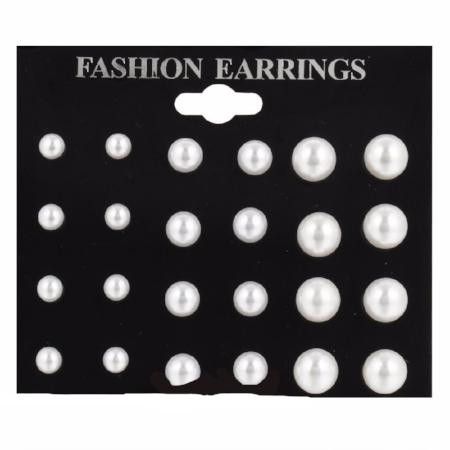 12 Pair Women's Fashion Simulated Pearl Earring Set