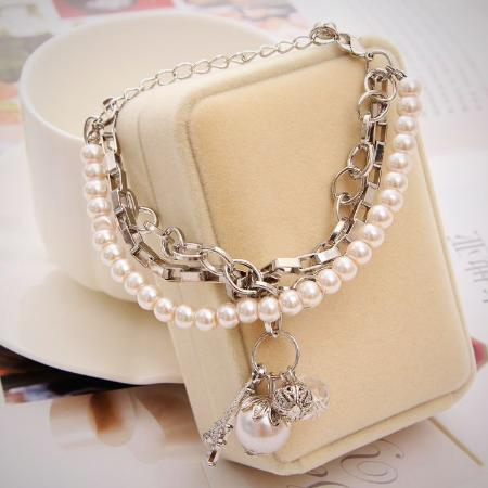 Women's Multi-Layer Simulated Pearl Beaded Tower Bangle Bracelet
