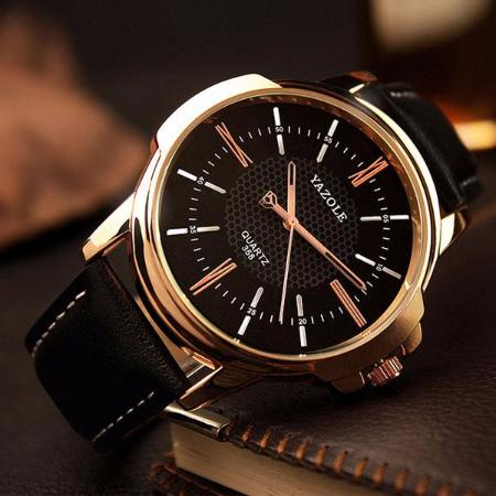 Mens Fashion Rose Gold Quartz Leather Band Wrist Watch