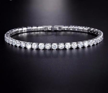 Women's Sparkly 0.25ct Cubic Zirconia Tennis Bangle Bracelet Available in 5 Different Colors