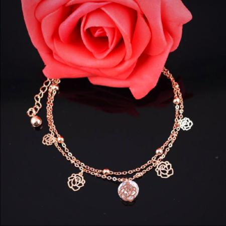 Womens Sexy Rose Gold Crystal Rhinestone Ankle Bracelet