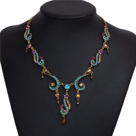Women's Colorful Crystal Tassel Flower Statement Necklace