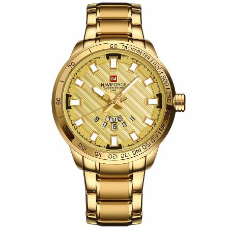 Mens Luxury Stainless Steel Gold Quartz Water Resistant Wrist Watch