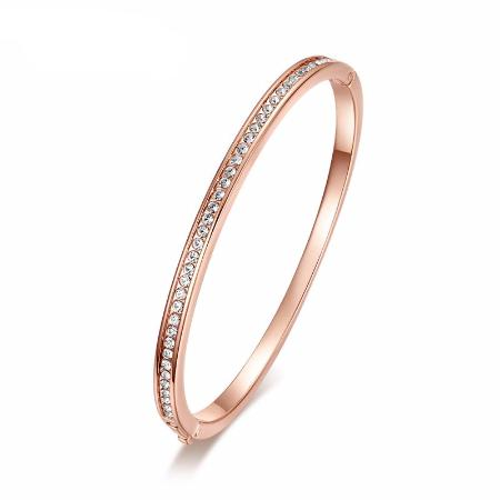 18k Gold Plated Women's Austrian Crystal Bangle Bracelet