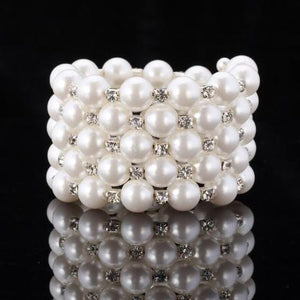 Womens Multilayer Simulated Pearl Statement Bracelet