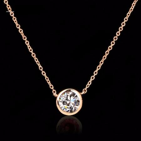 Women's Cubic Zirconia Rose Gold Pendant Necklace 4 Colors Available