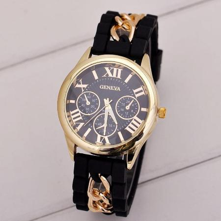 Womens Geneva Silicone Quartz Watch