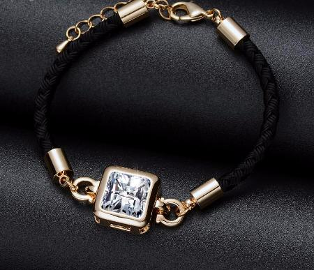 Cubic Zirconia Crystal Princess Cut Gold Rope Bangle Bracelet