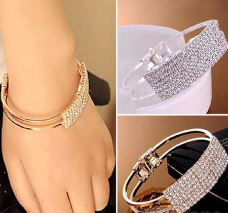 Women's Beautiful Crystal Bangle Cuff Bracelet