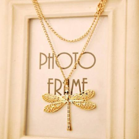 Women's Gold Color Dragonfly Pendant Necklace