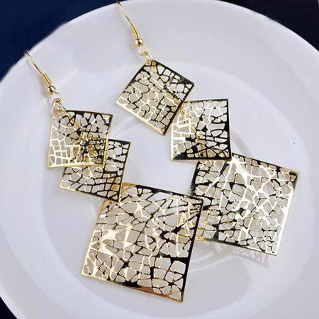Long Hollow Square Dangle Drop Earrings
