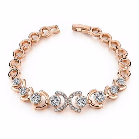 Sparkly Women's Rose Gold Crystal Chain Bangle Bracelet