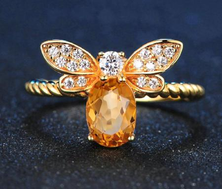 1ct Natural Oval Cirtrine 925 Sterling Silver 14k Gold Plated Bee Ring