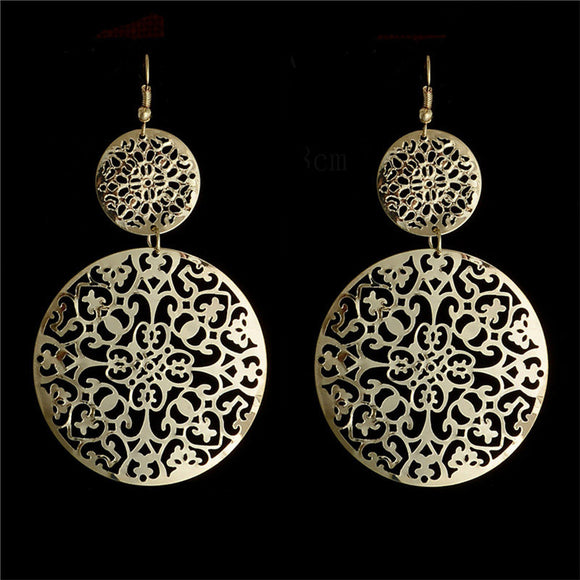 Gold Filled Round Hollow Drop Earrings