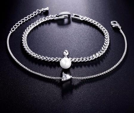 Women's Cubic Zirconia Elegant Triangle Simulated Pearl Friendship Bangle Bracelet