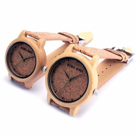 Men or Womens Bamboo Wood Quartz Genuine Leather Wrist Watch
