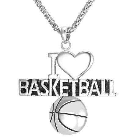 Mens Stainless Steel I Love Basket Ball Pendant Necklace
