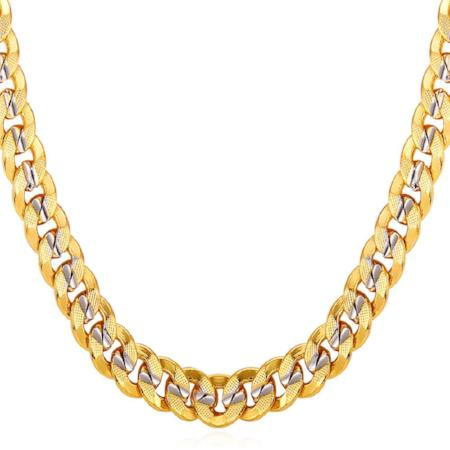 Mens Two Tone Cuban Link Necklace Chain