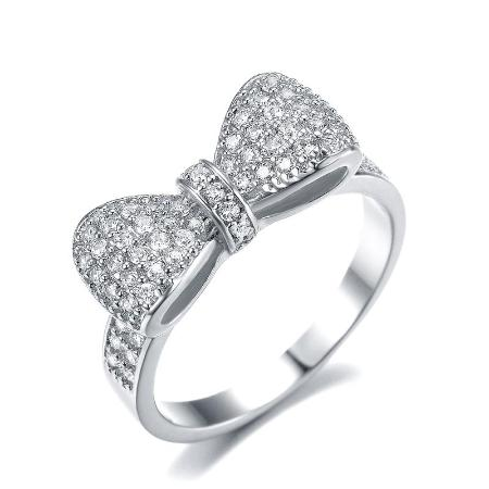 Cubic Zirconia White Gold Plated Bow Ring