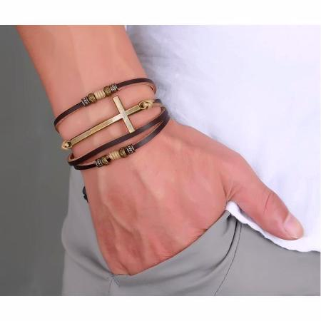 Mens Leather Adjustable Size Cross Bracelets Bangle