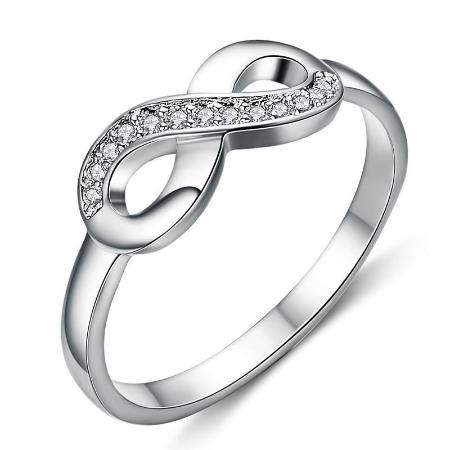 Romantic White Gold Plated Cubic Zirconia Infinity Ring