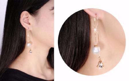 Crystal Water Drop Shape Pearl Drop Earrings