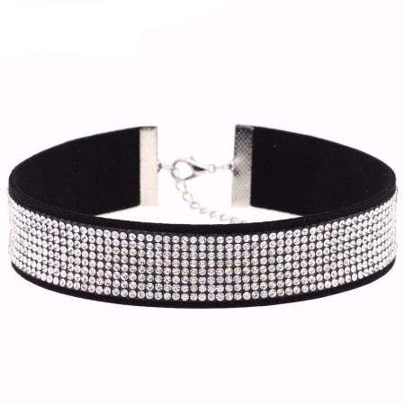 Beautiful Black Leather Rhinestone Crystal Choker Necklace 17 Colors Available