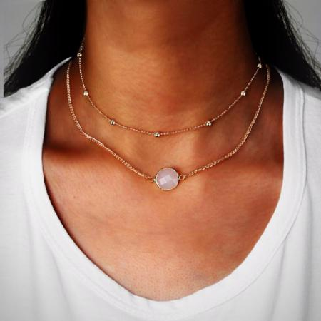 Bohemian Crystal Stone Double Layer Choker Necklace