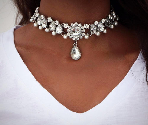 Bohemian Crystal Beaded Choker Necklace
